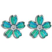 Blue Opal Hawaiian Plumeria Flower CZ Stud Earrings