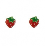 18K Yellow Gold Small Strawberry With Enamel Screwback
