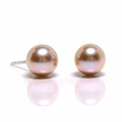 HinsonGayle Gem Collection Handpicked AAA 6.5-7.0mm Naturally Pink Cultured Pearl Stud Earrings