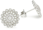 "CZ by Kenneth Jay Lane ""Vintage Cubic Zirconia"" Rhodium-Plated Edwardian Flower Stud Earrings"