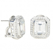 Studio 925 Lehman cut Diamond CZ 4.5ct Sterling Silver Earrings