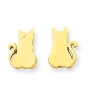 14k Gold Cat Earrings