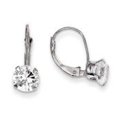 14k White Gold CZ Leverback Earrings - Measures 18x6mm - JewelryWeb