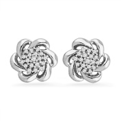 Platinum Plated Sterling Silver Round Diamond Fashion Earrings