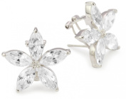 "CZ by Kenneth Jay Lane ""Elegant Cubic Zirconia"" Rhodium-Plated Flower Earrings"
