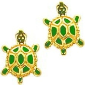 14K Gold Green Enamelled Turtle Stud Earrings Jewellery