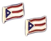 14k Yellow Gold Puerto Rico Flag Earrings