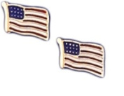 14k Yellow Gold United States American USA Flag Earrings
