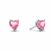 14K White Gold Heart Created Pink Sapphire Stud Earrings