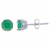 14k White Gold 5mm Brilliant Round Emerald 4-Prong Stud Earrings