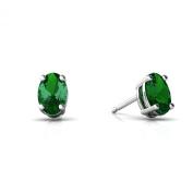 14K White Gold Oval Created Emerald Stud Earrings