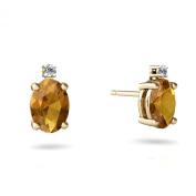 14K Yellow Gold Oval Genuine Citrine Stud Earrings