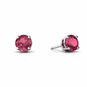 14K White Gold Round Genuine Pink Tourmaline Stud Earrings