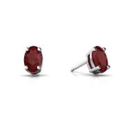 14K White Gold Oval Genuine Ruby Stud Earrings