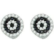 0.26 Carat (ctw) 10k White Gold Round Black & White Diamond Ladies Cluster Stud Earrings