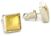 "GURHAN ""Amulet"" Square Earrings Silver with High Karat Gold Accents"