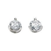 Created Moissanite Earring 1Cttw 14K White Gold