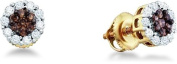 14k Yellow Gold Brown Chocolate and White Round Diamond Stud Earrings - 7mm Height * 7mm Width