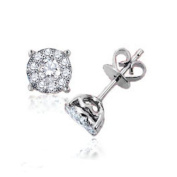 0.75 Carat (ctw) 14k White Gold Round Diamond Cluster Stud Earrings Look of 2 Ct Total Wt