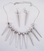 45.7cm Silvertone Spike Necklace & Earring Set Inspired By Basketball Wives