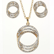 Infinity Triple Circle of Love with Clear Genuine Austrian Crystals Necklace and Earrings Set