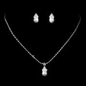 Bridal Wedding Jewellery Set Crystal Rhinestone Pearl Simple Design Silver White