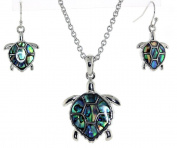 Silver Tone Turtle with Abalone Sea Shell Pendent Necklace Earrings Set