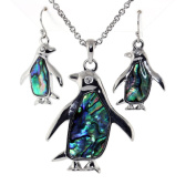 Silver Tone Penguin with Abalone Sea Shell and Clear Crystal Pendent Necklace Earrings Set