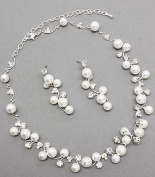 Bridal Wedding Jewellery Set Austrian Crystal Rhinestone Pearl White