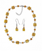 Necklace & Earring Set - N510 - Murano Style Glass Squares and Matching Earrings ~Topaz