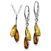 Sterling Silver Amber Dreams Necklace Earrings Set 45.7cm