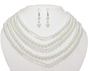 Multi Strand White Pearl and Crystal Bead Necklace & Earring Set - White Bridal Jewellery