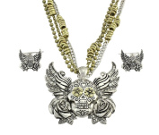 Two-Tone Winged Day of the Dead Sugar Skull Necklace / Earrings Set