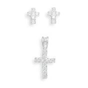 Children's Cross CZ Sterling Silver Earrings and Pendant Set