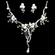 Bridal Wedding Jewellery Set Crystal Rhinestone Pearl Floral Vine Design Necklace