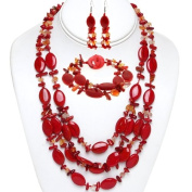 48.3cm Red Coral and Stone Chips Necklace Bracelet and Earrings Set