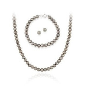 Sterling Silver6.5-7mm Genuine Freshwater Cultured Grey Pearl Necklace Bracelet & Stud Earrings Set, Knotted