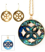 Abalone Medallion Necklace & Earring Set