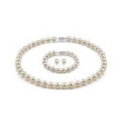 Sterling Silver 6.5-7mm Genuine Freshwater, Knotted, White Pearl Neklace, Bracelet and Earring Set