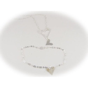 Sterling Silver Heart Charm Lariat Necklace Bracelet