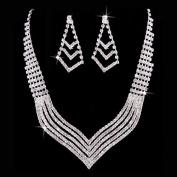 Bridal Wedding Jewellery Set Crystal Rhinestone . V Drop Necklace Silver