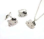 Sparkling Kitty Charm Necklace, Ring and Earring Set with Black Bows