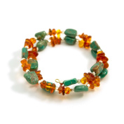 "Amber and Turquoise Nuggets ""Amber Waves"" Bracelet"