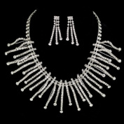 Rhinestone Curved Burst Wedding Necklace Earrings Set