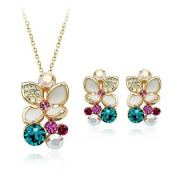 White Flower Crystal Pendant with Chain & Matching Earrings 18K Gold Plated Jewellery Set