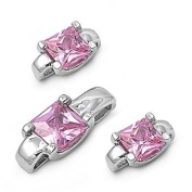 Sterling Silver Elegant Square Design Pendant and Earrings Jewellery Set with Pink CZ