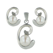 "Sterling Silver White Freshwater Pearl with silver ""C"" Curly side Earrings and Pendant Set 40.6cm chain"
