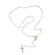Italian .925 Sterling Silver Rosary necklace cross drop Rose Gold Plating