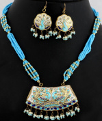 Turquoise Colour Beaded Necklace Set with Peacock Pair - Lacquer with Cut Glass