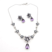Crystalmood LUX Silver Grey Pearl and Lilac. Teardop Necklace Earrings Set